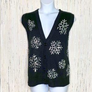 Tipsy Elves Sequin Snowflake Vest